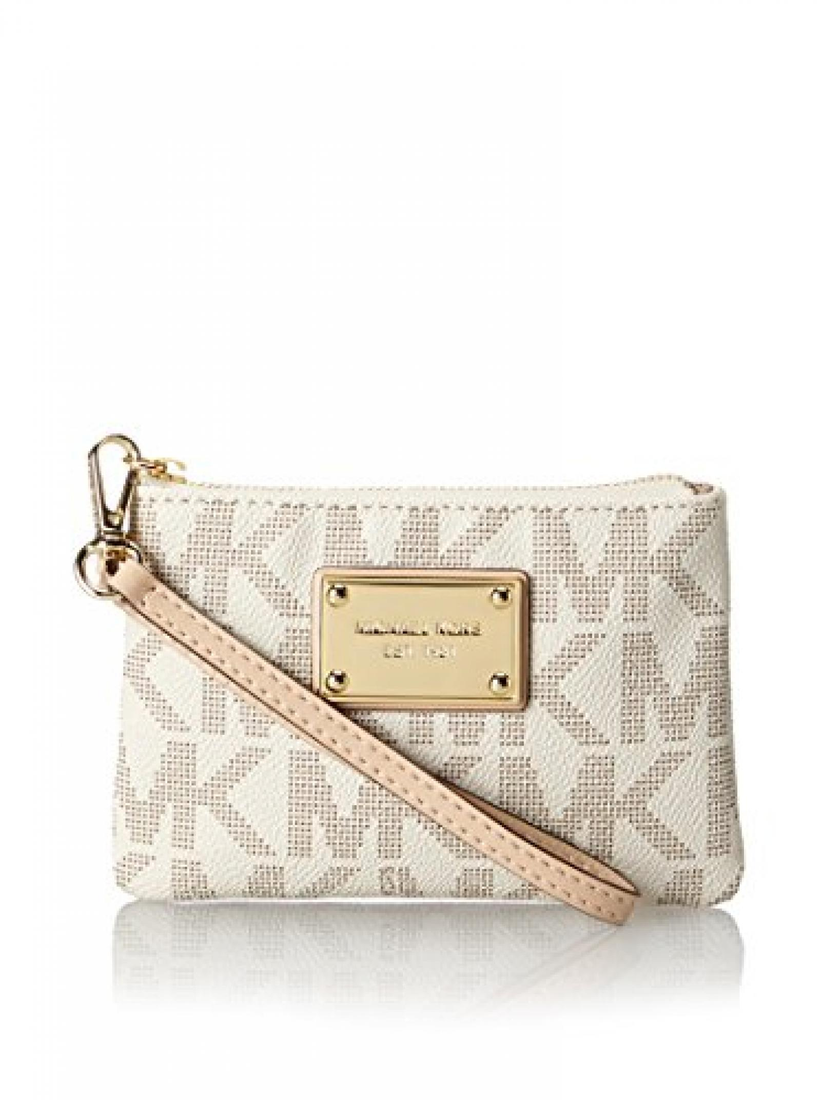 Michael Kors Handbag Jet Set Small Signature Wristlet Vanilla [Apparel]